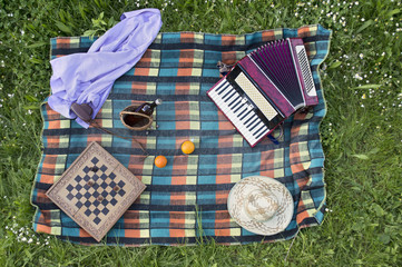 Top view of picnic accessories