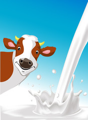 vector design with cow and pouring milk splash