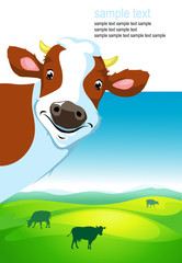 vector design with cow and landscape