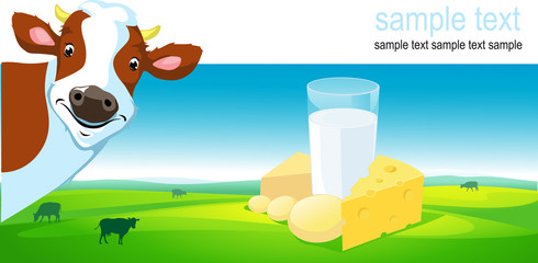 horizontal vector design with cow, dairy product and landscape