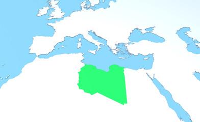 Cartina Libia in rilievo, verde, 3d, Africa, Europa