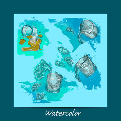 set of glasses in watercolor