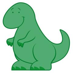 Cute Cartoon Dinosaur Isolated On White Background