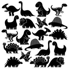 Set Of Different Cute Cartoon Dinosaurs