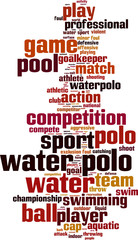 Water polo word cloud concept. Vector illustration
