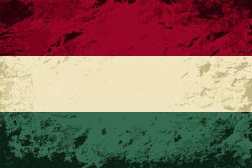 Hungarian flag. Grunge background. Vector illustration