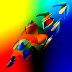 Interesting Colorful Abstract 3d Fish - Art Illustration -