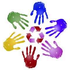 Conceptual children painted hand print and recycle symbol