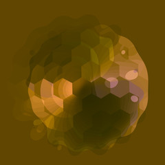 Abstract Transparent Golf Ball on Green Background -