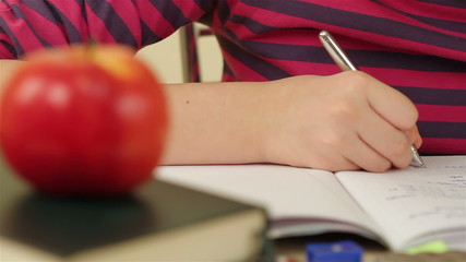 Schoolgirl doing her homework