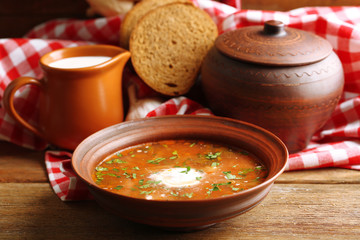 Ukrainian beetroot soup - borscht in bowl and pot,
