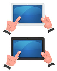 Hands Using Touch Screen On Digital Tablet