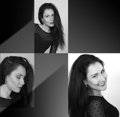 Model collage three expressions, copy space B&W