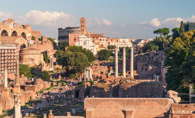 View of the Roman Forum in Rome
