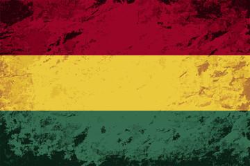 Bolivian flag. Grunge background. Vector illustration