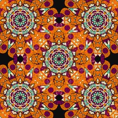 Seamless mandalatiled pattern in orange color over black