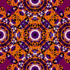 Brignt orange and red seamless mandala pattern