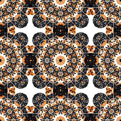 Seamless oriental tiled pattern. Stylized flowers endless