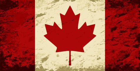 Canadian flag. Grunge background. Vector illustration