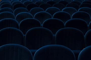 empty blue cinema or theater seats