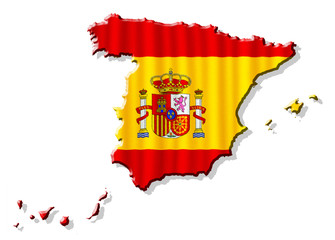 Map of Spain with waving flag isolated on white background