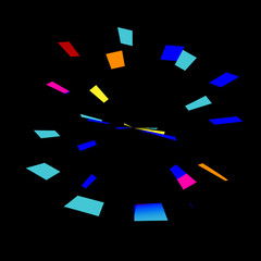 Colorful Abstract Fireworks on Black Background - Stopwatch