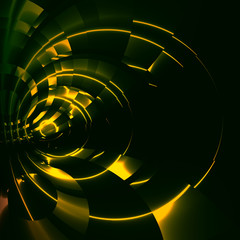 Green Abstract Futuristic Tunnel Background - Modern Sci Fi