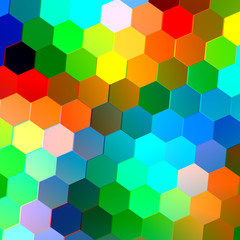 Abstract Seamless Background with Colorful Hexagons - Mosaic