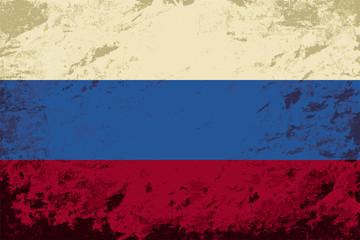 Russian flag. Grunge background. Vector illustration