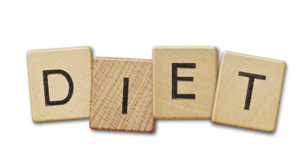 Diet text on a wooden scrabble pieces