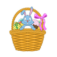 Easter basket with rabbit and eggs.