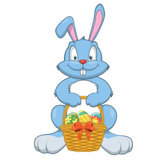 Rabbit with Easter gifts in a basket.
