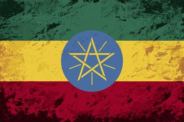 Ethiopian flag. Grunge background. Vector illustration