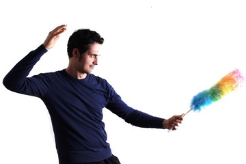 Man with feather duster