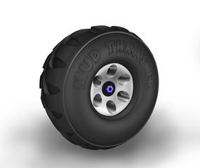 Off-road cartoon tyre.