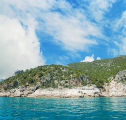 Cala Gonone coastline seen from the water