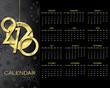 Creative Calendar 2016 vector design template on dark background