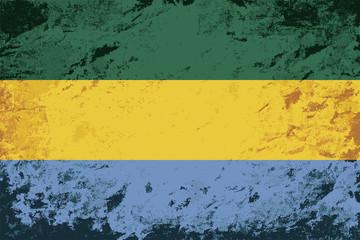 Gabonese flag. Grunge background. Vector illustration