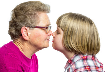 Grandmother and grandchild noses touching