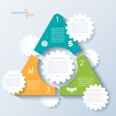 Template of business concept design with triangle, cogwheels