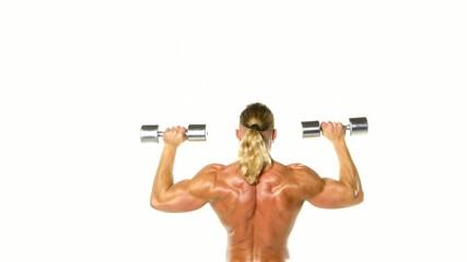 Man makes exercises dumbbells. Sport, power, dumbbells, tension