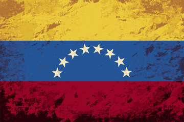 Venezuelan flag. Grunge background. Vector illustration