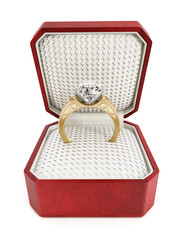 Engagement ring in the box