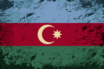 Azerbaijan flag. Grunge background. Vector illustration
