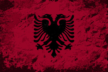 Albanian flag. Grunge background. Vector illustration