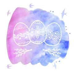 Greeting Easter card with decorative eggs on watercolor backgrou