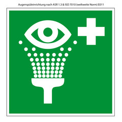 Augensprüheinrichtung Vorlage Schild nach ASR 1.3 und ISO 7010
