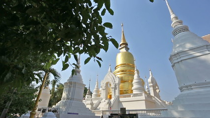 Dolly shot of golden pagoda at Suandok temple Chiangmai