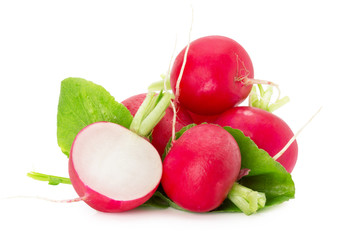 radishes isolated on the white background