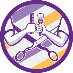 Barber Hand Comb Brush Scissors Circle Retro
